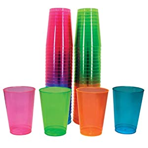 Northwest Enterprises Hard Plastic 10-Ounce Party Cups and Tall Tumblers, Assorted Neon, 50-Count