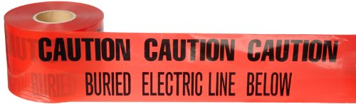 """Brady 91296 1000' Length, 6"""" Width, B-720 Heavy-Duty Polyethylene, Black On Red Color Identoline Underground Warning Tape- Electric (Legend Appears On Two Lines), Legend """"Caution: Buried Electric Line Below"""""""