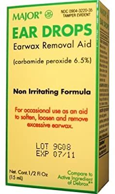 Ear Drops Earwax Removal Aid -- 0.5 fl oz By Major Compare to Debrox - Pack of 2 by Major
