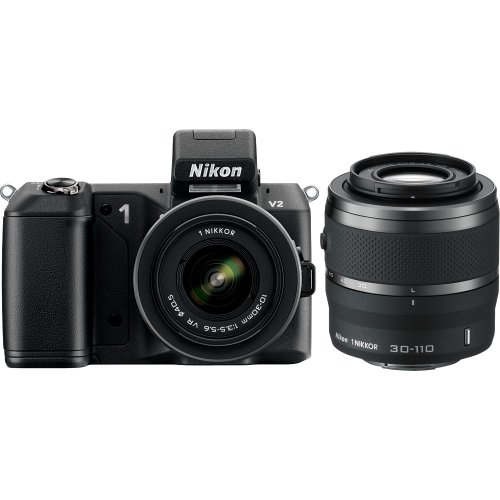 Nikon 1 V2 14.2 MP HD Digital Camera with 10-30mm &amp; 30-110 VR 1 NIKKOR Lens (Black)