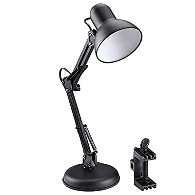 LE Swing Arm Desk Lamp, Regular E27 Sized Socket, C-clamp Mounted Table Lamp, Architects Desk Lamp
