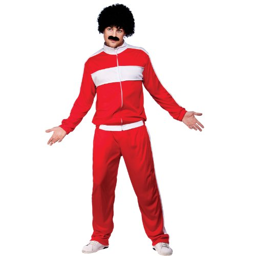 Red and White 80s Scouser Chav Tracksuit Fancy Dress Adult Costume - Standard or Plus Size