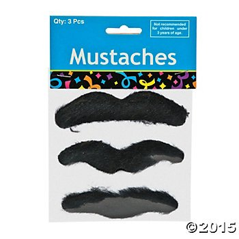 Fun Express Black Hairy Mustaches Self-Adhesive Fake Mustache (36)