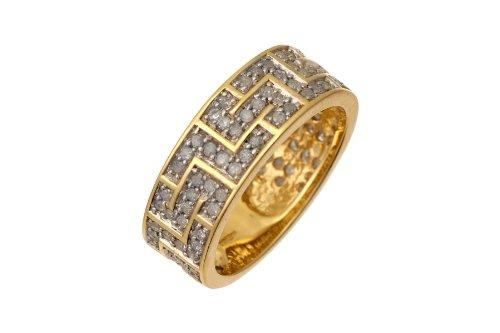 9ct Yellow Gold 1ct Diamond Greek Key Ring - Size S
