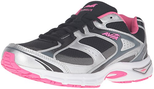 AVIA Women's Avi-Execute Running Shoe, Black/Chrome Silver/Pink Energy/Steel Grey, 9 M US (Avis Shoes compare prices)