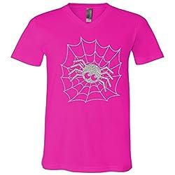 Spider Glitter Halloween V-Neck T-Shirt