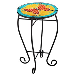 Red and orange mosaic glass butterfly side for Orange outdoor side table