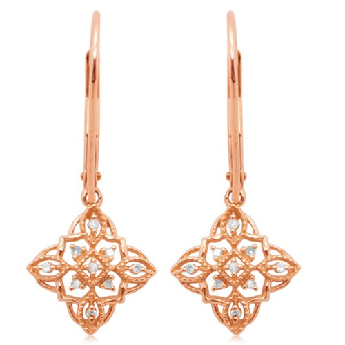 10k Rose Gold Diamond Lever Back Floral Design Earrings (1/20 cttw, I-J Color, I3 Clarity)