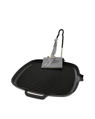 Chasseur Classique Black 9 Square Cast Iron Grill Pan with a Folding Handle