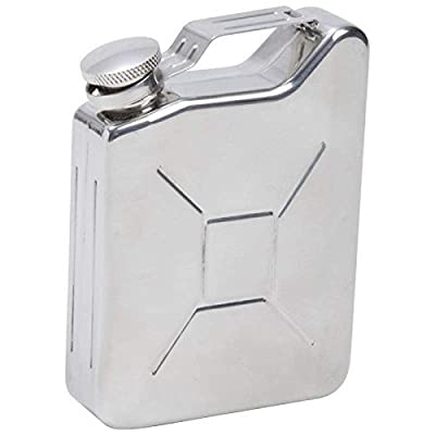 New 5 Oz Stainless Steel Gas Can Hip Pocket Flask Screw Down Cap Whiskey Liquor