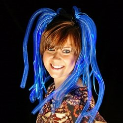 Light Up Hair Noodles, Battery Operated, Flashing, Blue