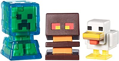 Minecraft Collectible Figures Chicken, Electrified Creeper and Magma Cube 3-Pack, Series 2 by Mattel