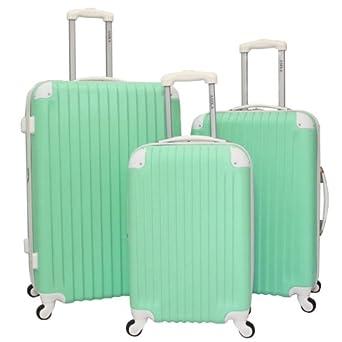AMKA Designer Duo-Tone Expandable 3-Piece Hardside Spinner Luggage Set - Green