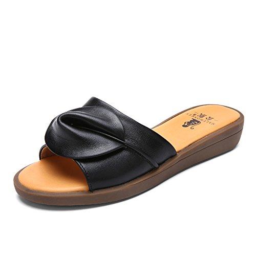 Pantoufles dames à fond plat/La première couche de pantoufles plat en cuir/Sandales casual