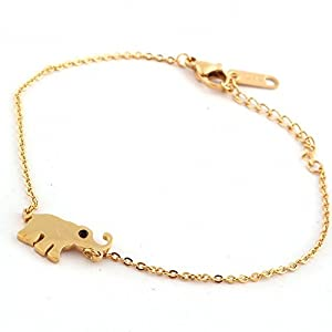 K-DESIGN Womens Girls Turkish Fashion Jewelry Animal Bracelet 18K Gold Plated Stainless Steel Cute Small Elephant Bracelets & Bangles