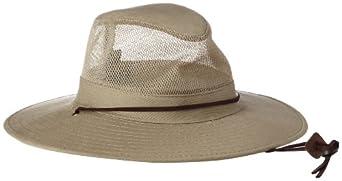 Dorfman Pacific Men's Twill Mesh Safari Hat With Genuine Leather Trim,Khaki,Small