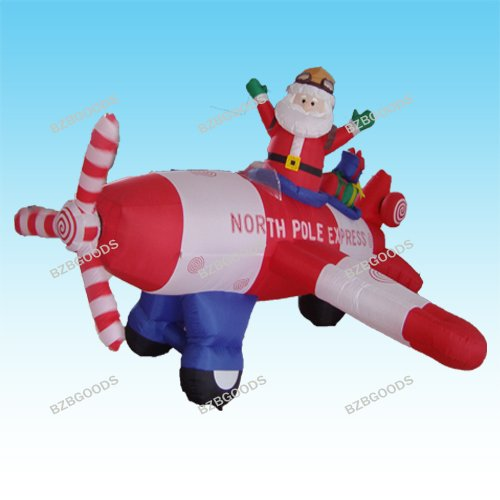 Animated - 8 Foot Wide Christmas Inflatable Santa Claus Flying Airplane 2012 Blow Up Yard Decoration