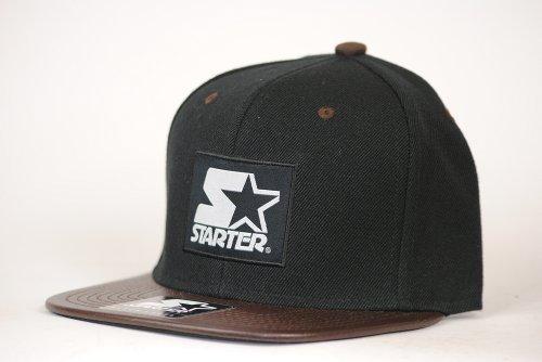 Starter Snapback Black / Brown Label Logo Starter Cap Snapback Baseball Cap Size Adjustable
