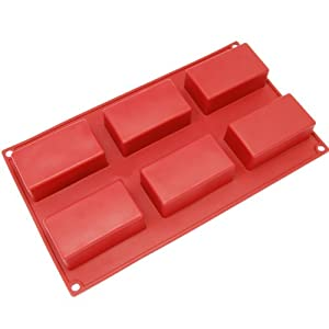 Freshware SL-131RD 6-Cavity Rectangular Brownie/Corn Bread/Muffin and Soap Bar Silicone Mold, Red