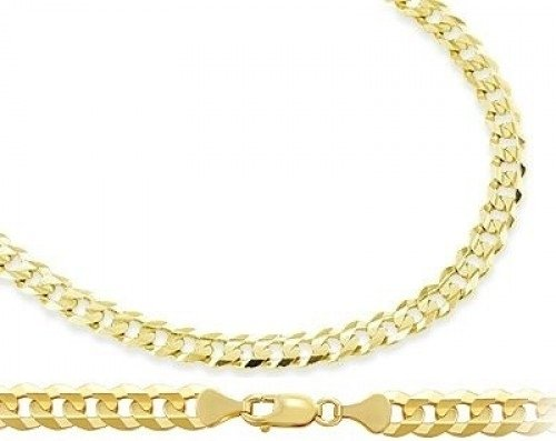 Curb Cuban Necklace 14K Yellow Gold Chain Solid Link 4.6Mm , 18 Inch