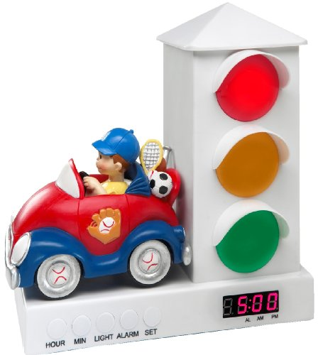 Stoplight Sleep Enhancing Clock, Red and Blue Sports Car