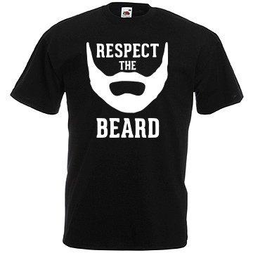 TRVPPY Uomo T-Shirt Maglietta Shirt Modello Respect The Beard, diversi colori e taglia