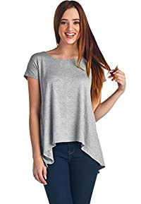 LeggingsQueen Women's Short Sleeve Rayon Spandex High-Low Tunic Top