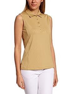 Green Lamb Women's Sleeveless Jacquard Polo Shirts - Sand, Size 10