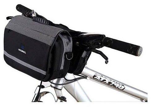ROSWHEEL フロントバッグ ハンドルバーバッグ 自転車 サイクリング 全2色 (グレー)