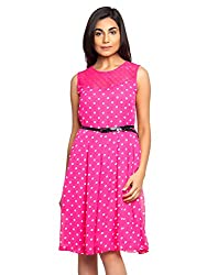 Baby Pink Color Dress With White Polka Dot And Black Belt