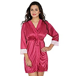 Klamotten Wine Satin Robe with Lace X209_Wine