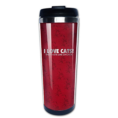Stainless Steel I LOVE CATS! They Taste Lik Platinum Style Tumbler Coffee Mug (Keurig Vue 600 Cups compare prices)