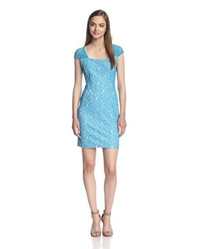 Miss Finch Women's Cap Sleeve Contrast Lace Dress