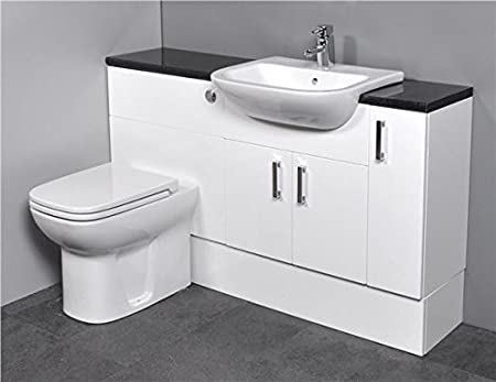 Gloss White Fitted Bathroom Furniture 1300mm With Basin Sink and Toilet - Black
