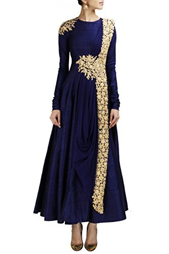Fabboom new blue floor touch embroidered gown available at for Floor touch gown