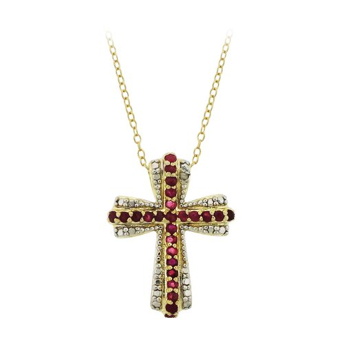 Sterling Silver Ruby and Diamond Accent Cross Pendant Necklace, 18