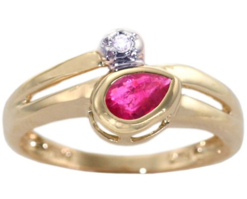 14K Yellow Gold Pear Gemstone and Diamond Promise Ring-Ruby, size8