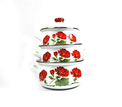 Uniware Super Quality Premium Enamel Cookware Set (6 Pieces Set, Red Rose Pattern) (Enamel Cookware compare prices)