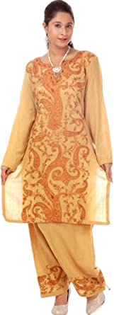 Exotic India Khaki Two-Piece Salwar Kameez from Kashmir with Hand-Embroidered Paisleys