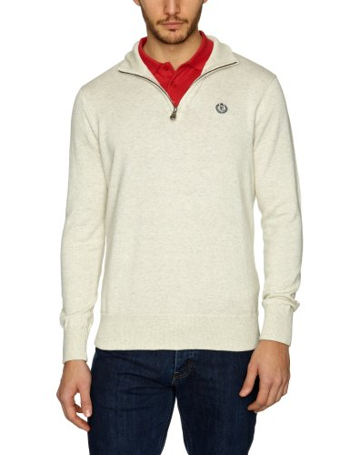Henri Lloyd Ensign Half Zip Knit Men's Jumper Ecru Marl X-Large