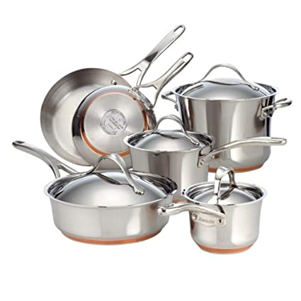 AmazonSmile: Anolon Nouvelle Copper Stainless Steel 10-Piece Cookware Set: Kitchen & Dining