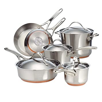 Amazon.com: Anolon Nouvelle Copper Stainless Steel 10-Piece Cookware Set: Kitchen & Dining