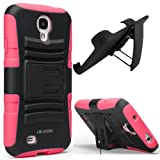 i-Blason Prime Series Dual Layer Holster Case Kick Stand Compatible with Samsung Galaxy S4 SIV S IV i9500 with Locking Belt Swivel Clip Manufactured by i-Blason (Pink)