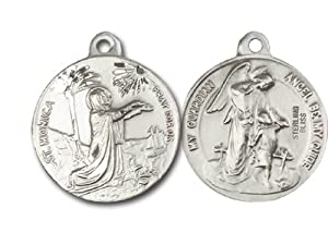Highest Quality Vintage Die .925 Solid Sterling Silver St. Saint Monica and Guardian Angel Rare Unique Vatican Commissioned 100 Year Old Design Relic Catholic Icon Religious Jewelry Protection Protector Charm New NWT