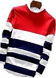 【Wild Cats】メンズ ニット セーター 長袖 Tシャツ トライカラー ボーダー クルーネック 薄手 綿 春 秋 トップス 服 エコバッグ付き