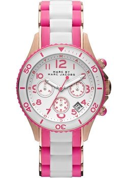 Marc Jacobs Rock Chronograph Pink and White Silicone