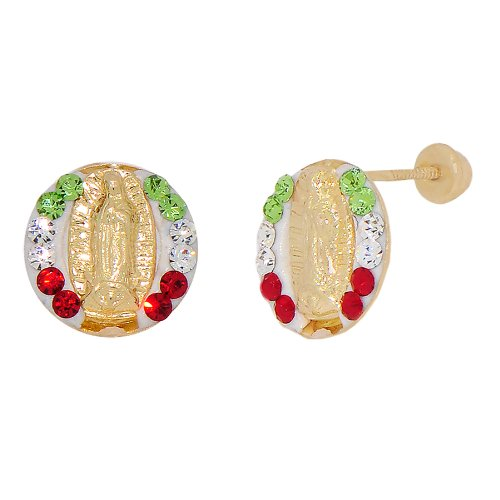 14k Yellow Gold, White Enamel Coated Mini Virgin Mary Design Religious Stud Screw Back Earring Lab Created Gems