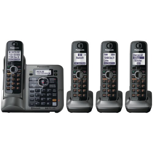 Panasonic KX-TG7644M DECT 6.0+ Link to cell PSTN ITAD 4 Handsets
