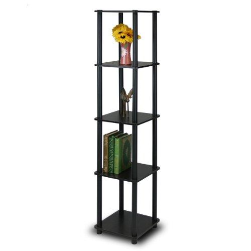 Furinno 99132EX/BK Turn-N-Tube 5-Tier Corner Square Rack Display Shelf, Espresso/Black