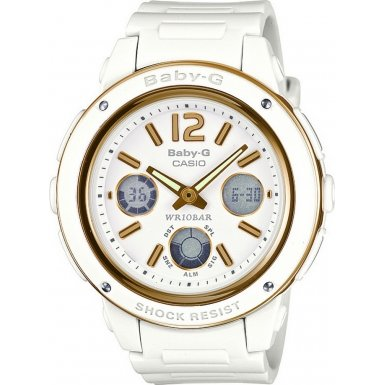Casio Baby-G Ladies Quartz Watch with White Dial Analogue - Digital Display and White Resin Strap BGA-151-7BER